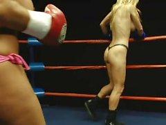 Tanya vs Francesca topless boxing - Big Boobs
