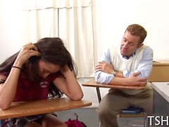brunette teen is a hot one fucked by the teacher