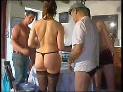 French woman enjoys three guys and DP