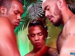 Threesome gay latino com facial