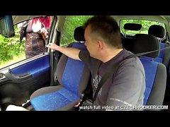 Redhead Bitch Sucks in a car