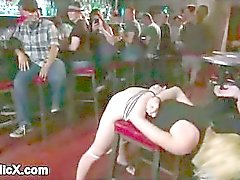 Big hooters blonde fucked on bar stool in public