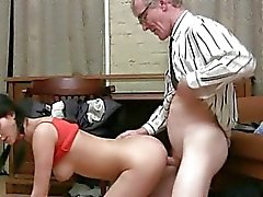 Old teacher gives young sweetheart a drilling