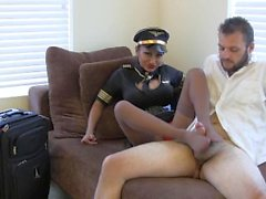 Jasmine Shy nylon footjob flight attendant