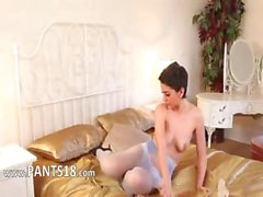 Purple stockings on girl with short hair