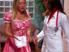 Two gorgeous nurses suck patient off