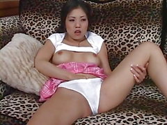 Hot asian girl masturbating and anal fuck
