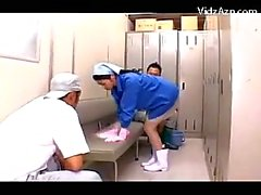Cleaning Lady In Uniform Getting Her Body Tits Rubbed By 2 Guys While Working In The Locker Room