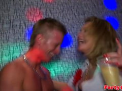 Euro party amateurs cocksucking on dancefloor