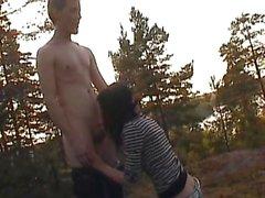 young couple having sex outdoors - teensex 18yo