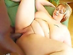 Busty BBW Denisa sucking black cock