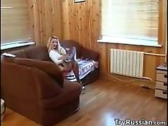 Russian Slut In Pantyhose Being Fucked