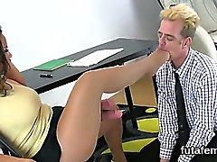 Nymphos poke guys anus with huge belt dicks and blast sperm