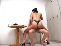 Asian gals play with each other and use hot wax and toys to
