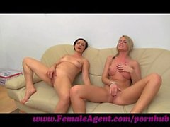 FemaleAgent. MILF masturbates with lucky girls on the couch