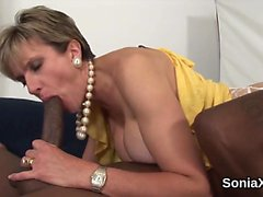 Unfaithful english milf lady sonia pops out her monster boob