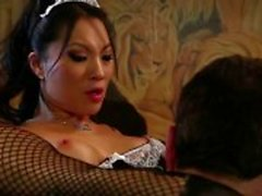 Sexy asian maid licked and hard fucked