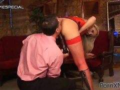 Long legged blonde drilled with a huge black dildo