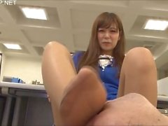 Japanese OL gives guy a throbbing errection, with the smell of her sweaty feet