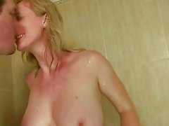 Guys fucking and pissing on mature bitch