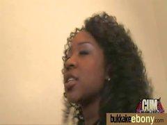 Ebony gets group cumshots 1