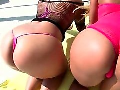 Hot ass nymphs on heels flashing pussies