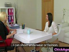 Female agent strapon bangs auditioning babe