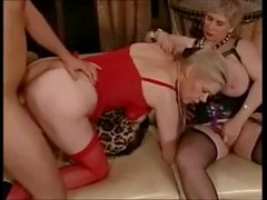 Three horny grannies in stockings have theirselves a party