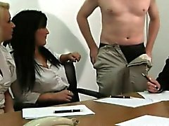 CFNM tugging loving business women enjoying handjob session