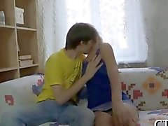 Cute Russian teenie licked after school
