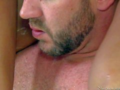 Man takes a bath with Skinny ebony babe Misty Stone