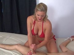Zoe Holloway makes bondaged guy cum twice real quick