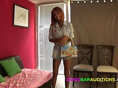 Gorgeous Thai girl has an interview on the casting couch of