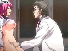 Busty unga animerade redhead blir sonderade och fingered av elaka doktorn
