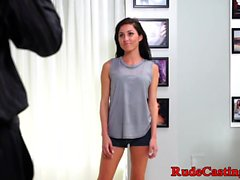 Real petite gets jizzed on ballgag at casting