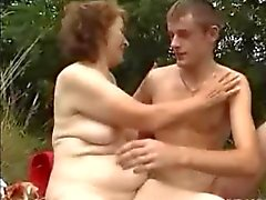 Granny Loves Outdoor Sex with a Little Cock