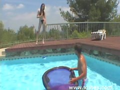 Poolside teen whore gets covered with sperm