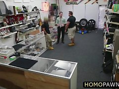 Naughty pawnshop staff fucked thief guy