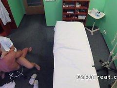 Doctor eats and fucks nurse on a desk