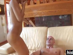 Skinny chick rides a hard dick