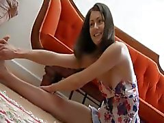 Cute brunette Narida is posing and then does a striptease on cam