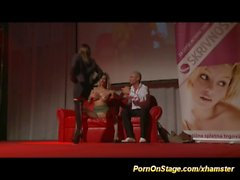 hard threesome on public show stage