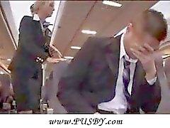 Sexy Stewardess Gives Handjob