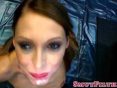 Blowbang slut gets facial