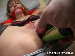 Piss soaked brunette toys her pussy