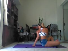 Pretty latin girl doing yoga
