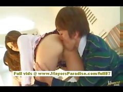 Risa Tsukino Asian girl in waitress uniform enjoys sucking huge cock