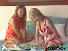 Girlfriends Cute blondes play games before fucking