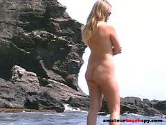 Beach nude pussies exposed by voyeur cam