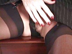 Mature sexy body secretary Stockings heels and dildo